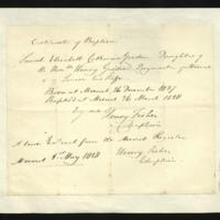 Certificate of Birth and Baptism of Sarah Elizabeth Catherine Gordon, written at Meerut