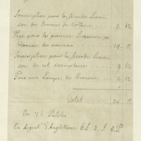 Account of expenditure by Georg von Löw for General Jacob de Budé, for works by Voltaire and a lamp (enclosure of 511).