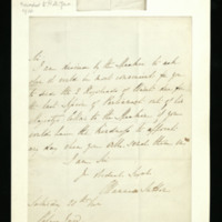 Letter from Manners Sutton to Mr Vaul [?]