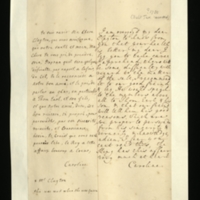 Letter [in French] from Queen Caroline to Mrs. Clayton [GEO/ADD/28/122], expressing pleasure at hearing of her good health, commenting that she thinks there will be difficulties with regard to 'the matter of the salt' and asking 'our good freind [sic'] [Mr Clayton] to speak to the Members [presumably, in Parliament], particularly Thomas [?] Earl and his son, and noting that the King 'has this affair very much at heart'; with transcription in French and English translation [GEO/ADD/28/068].