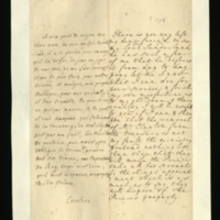 Letter [in French] from the Princess of Wales to Mrs. Clayton [GEO/ADD/28/087], reporting that there is no possibility of seeing Lord Sunderland, offering her assistance and assuring her that she [the Princess] is not responsible for the removal of Mr Clayton from the Treasury, and commenting that the Ministry are suggesting that the Prince [presumably of Wales] will be forced to 'take all his servants by the Kings [sic] appointment which is as much as to say they will dispose of the Prince's property'; with transcription in French and English translation [GEO/ADD/28/039].