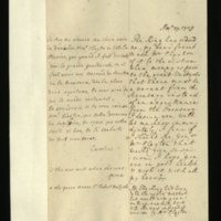 Letter [in French] from Queen Caroline to Mrs. Clayton [GEO/ADD/28/121], reporting that the King had ordered her to ask Mr Clayton what was the correct procedure for when money was paid to the Great Wardrobe, asking her for this information immediately but commenting that if the Queen was to see either Mrs or Mr Clayton, that would cause suspicion; with transcription in French and English translation [GEO/ADD/28/066].