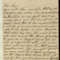 Letter from W.M. Spencer to General Jacob de Budé commenting on his (Spencer's) separation from 'the object so deservingly dear to me', which he hopes will only be temporary [and implies may be on account of pecuniary difficulties arising from his separation from his wife], and suggesting that he may have to leave the country.