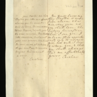 Letter [in French] from the Princess of Wales to Mrs. Clayton [GEO/ADD/28/76], reporting that 'it was a false alarm the ministry gave us', promising to tell her about it when they meet, and assuring her of her affection and esteem; with transcription in French and English translation [RA GEO/ADD/28/045].