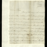 Letter from William, Duke of Clarence to John Bourke, 4th Earl of Mayo, written at Bushy Park