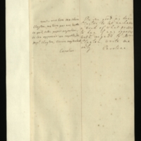Letter [in French] from the Princess of Wales to Mrs. Clayton [GEO/ADD/28/109], asking her to let the Princess know 'what passes to day [sic]', and 'if any opposes with regard to Mr Clayton'; with transcription in French and English translation [GEO/ADD/28/033].