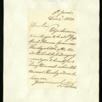 Letter from William, Duke of Clarence to J.W. Daniell, written at St James's