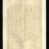 Letter [in French] from the Princess of Wales to Mrs. Clayton [GEO/ADD/28/132], reporting on Princess Amelia's current health and that her eyes are not so red, on the Prince's wish for the application of a blister, etc., as advised by 'your freind' [sic] [presumably Dr Freind], Hans's plea for an interview, and the consequent [?] disquiet felt by herself and the Prince; with transcription in French and English translation [GEO/ADD/28/022].