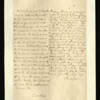 Letter [in French] from the Princess of Wales to Mrs. Clayton [GEO/ADD/28/141], reporting a 'great dispute' with 'that knave' Dr Stegerthal and her prevention of one of his prescriptions being given to Princess Amelia, commenting that her daughter is currently well, and expressing her certainty in the good effects of the advice of 'your freind' [sic] [presumably Dr Freind], and her concern for Mrs Clayton's health; with transcription in French and English translation [GEO/ADD/28/024].