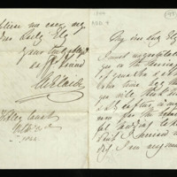 Letter from Queen Adelaide to Lady Ely, written at Witley Court