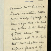 Letter from Susan C Wharncliffe to Mrs Clarke