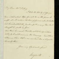 Letter from Princess Augusta to Mrs Feilding