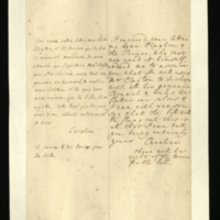 Letter [in French] from the Princess of Wales to Mrs. Clayton [GEO/ADD/28/089], sending thanks for a letter received which had also been read by 'the Prince' [of Wales, presumably], reporting that the Prince would assist Mr Clayton 'with all his power in Cornwal [sic] & Wales', expressing the hope that 'the bill will be flung out' and noting 'there will be eight of the tories [sic] for the bill'; with transcription in French and English translation [GEO/ADD/28/030].
