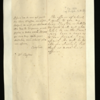 Letter [in French] from the Princess of Wales to Mrs. Clayton [GEO/ADD/28/098], reporting that a certain [unspecified] 'affair' is settled and that Walpole will not be in the Treasury, and expressing a warning as regards 'our freind' [sic] [identified in a note as Mr Clayton], as 'He will be too able for Aislaby [sic]'; with transcription in French and English translation [GEO/ADD/28/058].