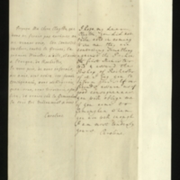 Letter [in French] from the Princess of Wales to Mrs. Clayton [GEO/ADD/28/084], reporting that the 'first Minister' had informed the Bishop of Rochester that 'they are contriving something against the Prince' and that 'our freinds [sic] assure us of good consequences', and asking Mrs Clayton to come to Geminghen when she is sufficiently well; with transcription in French and English translation [GEO/ADD/28/032a].