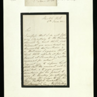 Letter from the Lord Steward to Thomas Marrable, written at Marble Hill