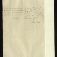Note [in French] from the Princess of Wales to Mrs. Clayton [GEO/ADD/28/075], asking her to come at 5 'precisely, or half an hour after six at the latest, but dont [sic] fail'; with transcription in French and English translation [GEO/ADD/28/025a].
