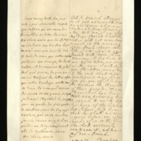 Letter [in French] from the Princess of Wales to Mrs. Clayton [GEO/ADD/28/143], referring to the return of the Princess's children from Kensington and to Princess Amelia current health [?], to a possibly wasted journey by Mrs Clayton's friend ['Dr Freind' in the translation], and to Stegerthal pressing Princess Amelia [?] to speak to the Princess about giving up 'the kinkina', which the Princess is determined she should continue; with transcription in French and English translation [GEO/ADD/28/001].