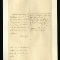 Letter [in English and French] from Queen Caroline to Mrs. Clayton [GEO/ADD/28/126], asking [?] 'under what shape is' the £8,000 not yet disposed of by Parliament, and commenting 'you will know the stile [sic]' [a postscript notes that this refers to Sir Robert Walpole's style]; with transcription in English and French, and English translation [GEO/ADD/28/035].