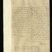 Letter [in French] from the Princess of Wales to Mrs. Clayton [GEO/ADD/28/099], remarking that she has learnt of the death of Mrs Clayton's brother and hoping that 'that affliction is not too great', reporting her unease that she might be pregnant and expressing concern at being unaware of Mrs Clayton's health; with transcription in French and English translation [GEO/ADD/28/060].
