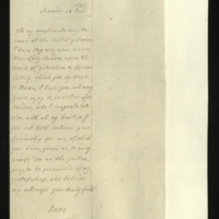 Letter from Anne, Princess of Orange, to Lady Sundon [GEO/ADD/28/151], sending congratulations to her and Lord Sundon on 'ye mark of distinction, & favour lately shew'd you by Papa, & Mama' [presumably the grant of the Peerage], and hoping for the continuation of their friendship; with English transcription [GEO/ADD/28/065a].