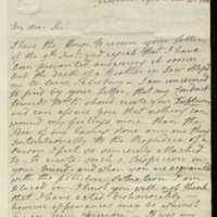 Letter from W.M. Spencer to General Jacob de Budé replying to one received, expressing concern that his conduct towards 'Mrs. K.' [?; possibly Mrs Kirkpatrick: see GEO/ADD/15/832] displeases de Budé but assuring him that he wishes to marry her, and explaining that, despite a long separation from his wife, there have recently arisen some issues with regard to the disposal of some property which related to his wife's settlement.