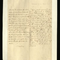 Letter [in French] from the Princess of Wales to Mrs. Clayton [GEO/ADD/28/085] announcing that, on Mr Stanhope's advice, the King has had Mr Robeton arrested, and that he [presumably Stanhope] is following [?] Lord Sunderland, who is at liberty in Hanover but in disgrace [?]; with transcription in French and English translation [GEO/ADD/28/037].