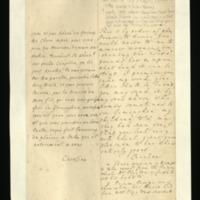 Letter [in French] from the Princess of Wales to Mrs. Clayton [GEO/ADD/28/080], reporting the Prince's request that Mrs Clayton write to the Princess tomorrow morning about the £20,000, 'how & upon what head it can be stopt [sic]', suggesting that she send her letter 'by my son's nurse', who sometimes visits Geminghen, and noting that the Princess's children had reported that Mrs Clayton is looking very well; with transcription in French and English translation [GEO/ADD/28/038].