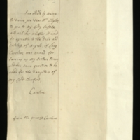 Letter from Princess Caroline to Mrs Clayton [GEO/ADD/28/146] requesting her to ask Lady Suffolk if it would be agreeable to the Duke and Duchess of Argyll if [their daughter] Lady Caroline was made a train-bearer for the Princess's sister, and to put the same question with regard to the daughters of Lord Stanford; with English transcription [GEO/ADD/28/070].