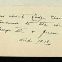 Memorandum by Queen Mary