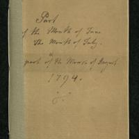 """Diary for """"Part of the Month of June The Month of July & part of the Month of August 1794"""""""