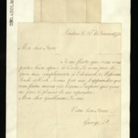 Letter from George, Prince of Wales to Prince William, written in London