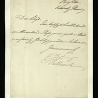 Letter from the Duke of Clarence to the Reverend Thomas Lloyd [?], written at Brighton